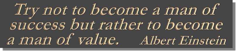 Try not to become a man of success but rather to become a man of value.  Albert Einstein